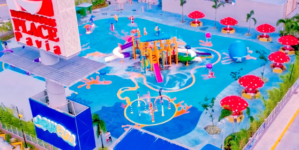 An Iloilo Water Park Outside the Mall in Robinson's Place Pavia